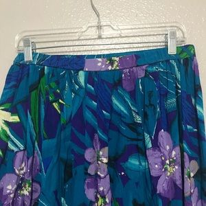 Alfred Dunner Skirts - Alfred Dunner Blue Maxi Skirt Purple Flowers